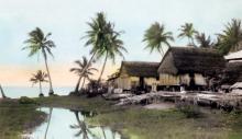 Fischerhütten in San Antonio, Guam; Foto von L.Ron Hubbard, gekauft von National Geographic, 1930.